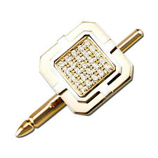 14K Two Tone Gold 0.1ct Packed in a Square Invisible Set Diamond Tie Tacks