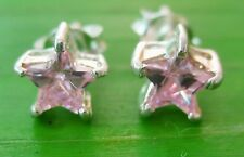 "100% REAL 925 sterling silver ""PINK cz 5mm STAR"" Studs EARRING  Kid Girl Women"