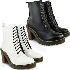 Womens White Faux Leather Walking Hiking Designer Ankle Boots Lace Up Non Slip