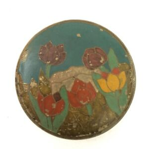 Solid Brass Bowl with Enameled Lid Trinket Jewelry Box