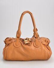 CHLOÉ Orange/Camel Brown Leather Paddington East West Tote Bag, $1390 Retail