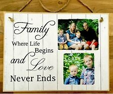"""Personalised Wooden Family Photo Plaque 8x6"""" Family Gift Shabby Chic."""