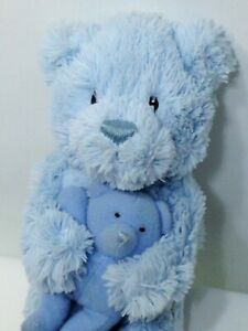 """BABY Gund Bear & Baby Plush Blue Cute As A Button Toy Welcome Little One 9"""""""