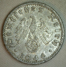 1940 D Aluminum German 50 Reichspfennig Third Reich Nazi Germany Coin VF Pfennig