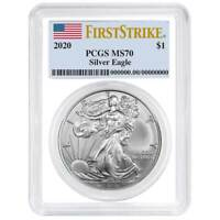 2020 $1 American Silver Eagle PCGS MS70 First Strike Flag Label White Frame