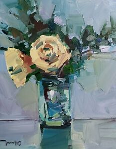 JOSE TRUJILLO Oil Painting IMPRESSIONISM 16X20 LARGE STILL LIFE ROSES SIGNED NR