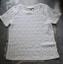 Ann Taylor LOFT Sheer Ivory Lace Top Petite Medium EUC