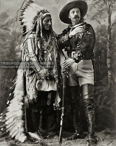 Antique 1885 CHIEF SITTING BULL and BUFFALO BILL CODY Photo - Old Wild West Show