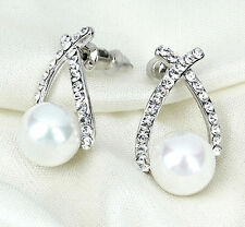 Ivory Pearl Earrings Stud Crystal Rhinestone Silver Vintage Bride Wedding Gift