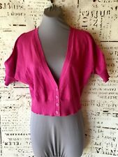 Vintage Bongo Crop Top Junior Size XL Cold Shoulder Pink Button Front Lace Back