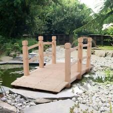 5 ft Wooden Bridge Stained Finish Yard Decor Wood Garden Pond Arch Walkwa