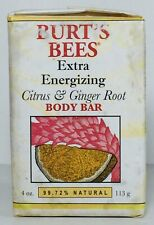 Burts Bees Extra Energizing Citrus & Ginger Root Body Bar, 4 oz, 99%+ Nat, RARE
