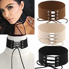 Thick Tie Up Ribbon Wrap Black Brown Beige Velvet Choker Wide