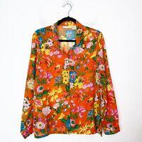 La Cera Orange Floral Long Sleeve Button Up Sheer Blouse Womens Size L