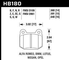 Hawk Disc Brake Pad Rear / Front for BMW, Alfa Romeo, Nissan, Opel / HB180U.560