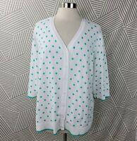 CJ Banks plus size 2X 18/20 Cardigan Sweater comfort Polka Dot Minty Teal Green