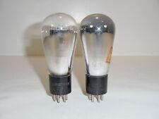 2 Vintage 1930's RCA Radiotron Type 47 247 Engraved Base Matched Globe Tube Pair