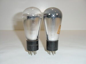 2 Vintage 1930's RCA Radiotron Type 47 247 Engraved Base Matched Globe Tube Pair