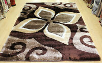 New Modern Large Area Rug Brown Colour Shaggy Rugs Floor Carpet Living Room Rug