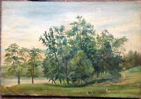 Hunter Island America Nuovo Yorck Dipinto a Olio Antico Autografato 1930 2 Pezzi