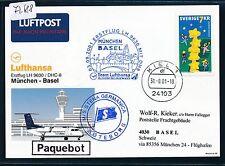 72688) LH/AA FF München - Basel Schweiz 3.9.2001, Kte SP Schweden via Kiel