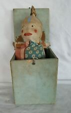 Antique Victorian Wood/Cloth Puppet Jack-in-the-Box Handmade Folk Art Spring Toy