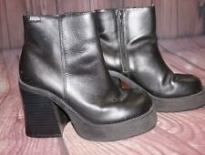 Bongo Vintage Ankle Boots Platform 90's Chunky Heel Zip Leather Upper Size 7M