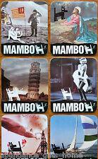 Mambo 'History Lesson' Cork Backed Coasters - Set of 6 *NEW*