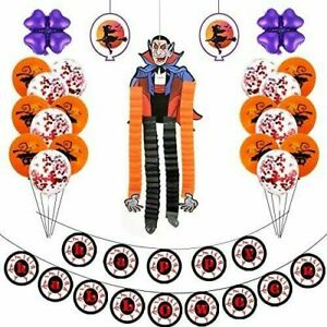 Halloween Balloons Arch Garland Kit Party Foil Confetti Ghost Decor UK Seller
