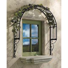 Wall Mount Window Metal Arch Arbor Trellis Garden Deck Patio Decor Dark Brown