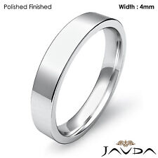Wedding Band Platinum Flat Pipe Cut Comfort Fit Women Ring 4mm 7.2gm Sz 6 - 6.75