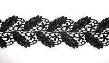 2,99€/m 1m Stick-Spitze gestickt schwarz Band Borte Dirndl 70 mm Gothic Neu