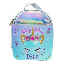 Personalised Girls Lunch Bag UNICORN Holographic Shiny Silver School Box KS33