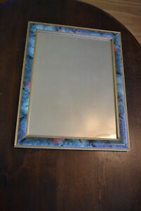 Bevel Edge Mirror, Wall Hanging, Chunky blue/Pastel Floral Frame, 37.2 x 47.2 Cm