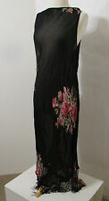 Vintage Sheer Black Floral Print Bias Cut Beaded Fringe Bottom Dress XL