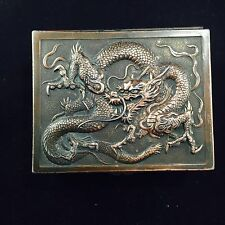 HEAVY 0.5kg Antique  Chinese Dragon Box Copper / Mixed Metal