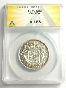 High Grade Circulated 1949 Canada Half Dollar Graded by ANACS as an AU-58!