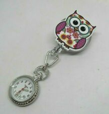 Nurses, Carers, Beauticians Retractable Colourful Floral Owl Fob Watch