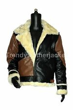 B3 BOMBER COLOR COMBINATION FLIGHT WINTER REAL LEATHER JACKET (ARTIFICIAL FUR)