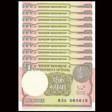 Lot 10 PCS, India 1 Rupee, 2015-2016, P-108 New, UNC