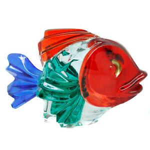 Murano Glass Fish Animal Multi Coloured 10.5cm Blue Red Green