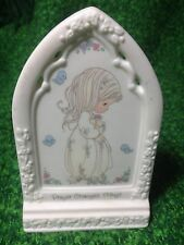 1993 Plaque Precious Moments Prayer Changes Things Fine Porcelain Bisque Girl