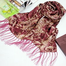 100% Pure Silk Womens Long Double Layer Scarf Wrap Shawl Wine Rose