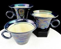 """SCOTT MCDOWELL TACOMA SIGNED ART POTTERY 3 PC WIDE COBALT IRIDESCENT 3 1/2"""" CUPS"""