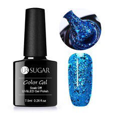 7.5ml Nail Glitter Gel Polish Holo Laser Sequins Blue Soak Off UV/LED UR SUGAR