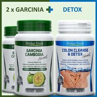 180 DIET WEIGHT LOSS PILLS 120 GARCINIA CAMBOGIA 95% HCA 60 COLON CLEANSE DETOX