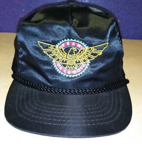 VTG Boxing Oscar De La Hoya Black Satin Zipper Back Hat Cap Embroidered Details