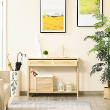 HOMCOM Console Table w/ Storage Shelf 2 Drawers for Entryway Bedroom Natural