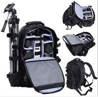 Large DSLR SLR Deluxe Camera Backpack Rucksack Bag Case For Nikon Sony Canon US
