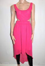 BOOHOO Women's Magenta Cut Out Bow Back Mixi Chffon Dress Size 6 BNWT #TM72